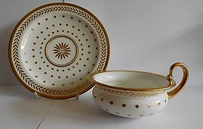 Early 19Th Century Sevres Empire Shape Cup And Saucer With Gilt Polka Dot Decor