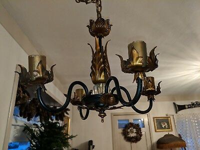 "Gorgeous Vintage 13"" Italian Tole Chandelier Black & Gold Gilt w Original Canopy"