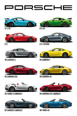 "Porsche Evolution Poster 32x48"" 24x36"" 13x20"" Sports Car 911 Huge Fabric Print"