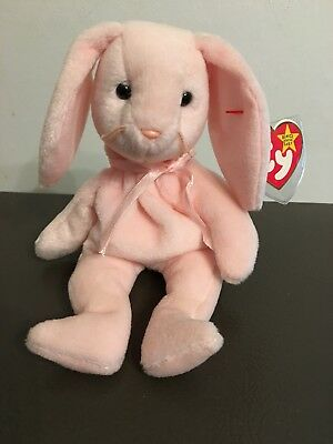TY Beanie Baby Hoppity the Bunny Rabbit, with tag And Errors