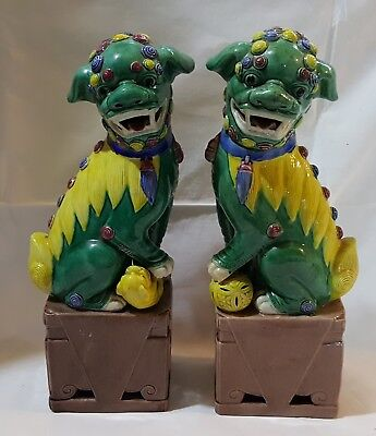 Chinese green & yellow glaze vintage Victorian antique pair dogs of fo figurines