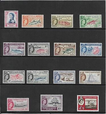 Turks And Caicos Islands. 1957 Set (15) Mh To 10/-, £1. Mnh.   (446)