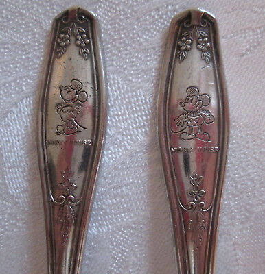 HTF Vintage 1930's MICKEY MOUSE Winthrop Silverplate Child Spoon Fork Flatware