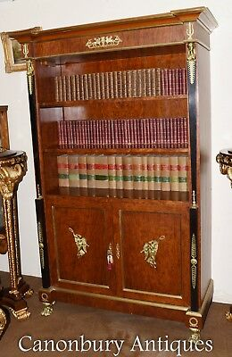 French Empire Bookcase -  Walnut Open Front Cabinet