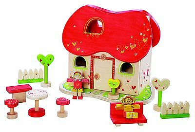EverEarth EE30978 Wooden Heart Shaped Fairy Tale Dolls House & Accessories NEW