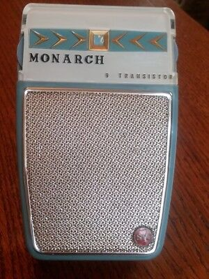 Nice Monarch Mod 90 Working 9 Transistor Radio, With White Reverse. Painted Face