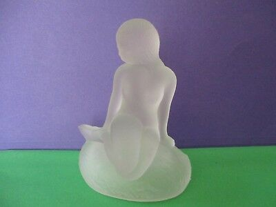 """ART DECO Figurine Frosted Glass SIGNED MOD D VTG BEAUTIFUL 5"""" TALL nude Lady"""