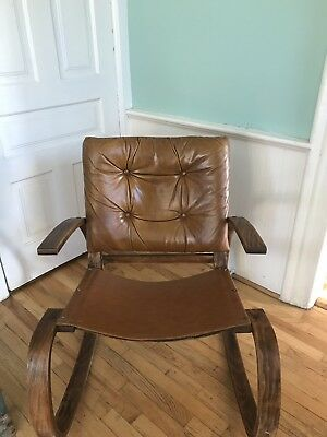 Mid Century Danish Modern Faux Leather Rocking Chair Bent~formed Wood