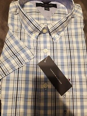 Tommy Hilfiger Men Short Sleeve Plaids Woven Casual Shirts New with Tags medium