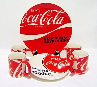 Coca Cola Dinnerware 6 pc Set Lot Plates Mugs Advertising Ceramic Red White Coke