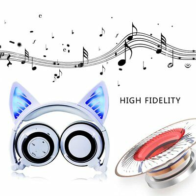 Cat Ear Bluetooth Headphone Foldable Cosplay Stereo Headset Earphone With Mic ~P