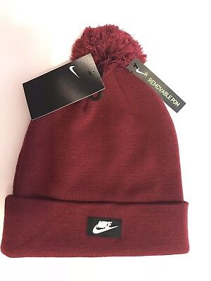 new product e51d3 9c3a9 New Nike Air Max Removable Pom Beanie Wool 1Sfa Burgundy Red Logo Hat Cap