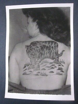 Vintage Photo..' Tattooed Lady '...Large Snarling Tiger ..7x5 in...T-1355
