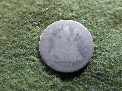 1842 O Seated Liberty Dime New Orleans Mint US 10 Cent Silver Coin