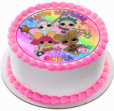 Lol Doll Glitter Rainbow Personalized Edible Circle Cake Topper Decoration #293