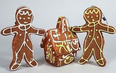 Vintage Lot of 3 Styrofoam GINGERBREAD MEN & House Tree Ornaments, Japan