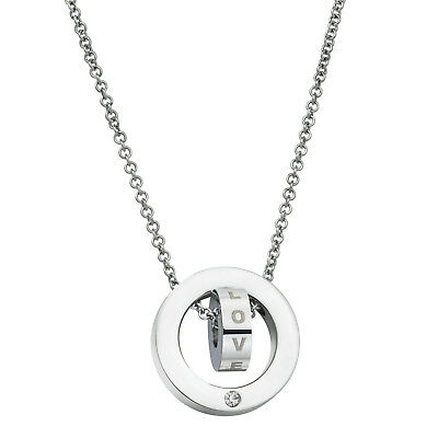 316 Stainless Steel Personalized Dual Ring Love Dangle Charm Rolo Chain Necklace