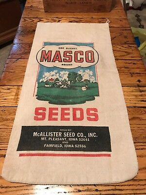 Masco Seeds Mcallister Mt Pleasant Fairfield Iowa Corn Sack Feed Cloth Bag