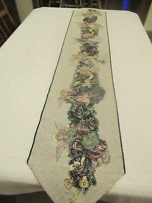 "Table Runner, Christmas,angel,musical Instruments, 70""long, 12"" Wide, Vintage"