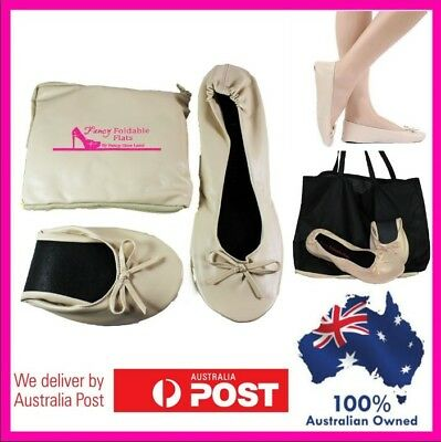 Foldable flats cream folding womens shoes size 6 to 12 with Expandable tote bag