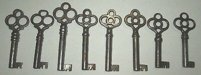 Lot Of 8 Vintage Open Barrel Bow Skeleton Keys Ornate Lock Box Key Cabinet Key