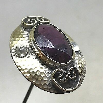 Antique Hat Pin. Precious Purple Center Rests on Hammered Skirt.  A Real Beauty!