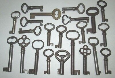 Lot Of 20 Vintage Open Barrel Skeleton Keys Ornate Lock Box Key Cabinet Key