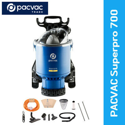 Pacvac SUPERPRO700 Commercial Backpack Vacuum Cleaner - 2 Cloth and 5 Paper Bags