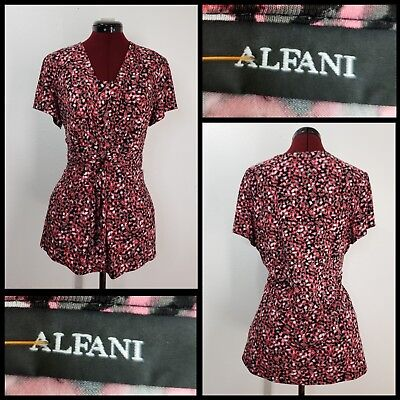 alfani woman casual formal career tied front blouse size large stretch
