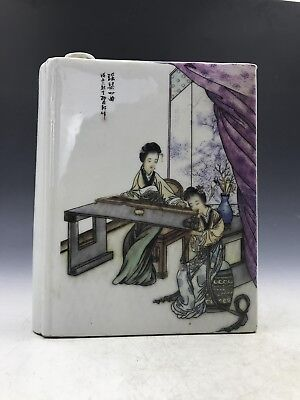 China antiques----Exquisite beauty painting title ceramic small hip flask c95