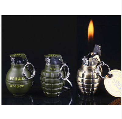 Military army mini metal key chain lighter grinding wheel flame Gas inflatable