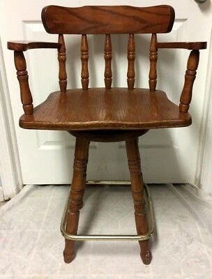 Vintage Carved  Solid Wood  Swivel Kitchen / Bar High Chair, Stool  - Nice!