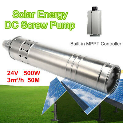500W 24V 50M 3m3/H DC Brushless Solar Powered Submersible Deep Well Water Pump