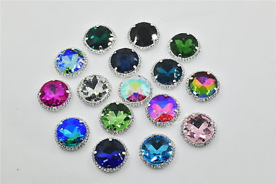 Strass 27mm Crystal AB Large Sew On ROUND Rhinestones Stone with Claw  Setting 802574d3e162