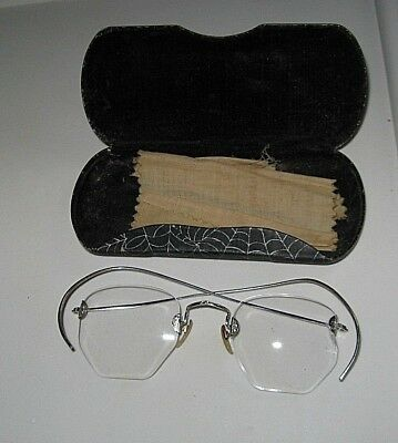 Antique Eye Glasses Fancy Silver Frame With  Orig Dr. Ad Cloth An Special Case