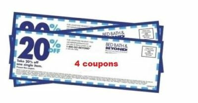 Bed Bath And Beyond 20 % off Coupons (ONLINE OR IN-STORE see listing) LOT OF 4