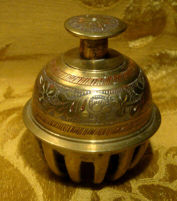"""Vintage Brass Etched Elephant Claw Bell 3"""""""