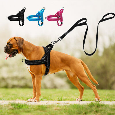 No Pull Front Leading Dog Harness Leash Reflective Plush Padded Adjustable XS-L