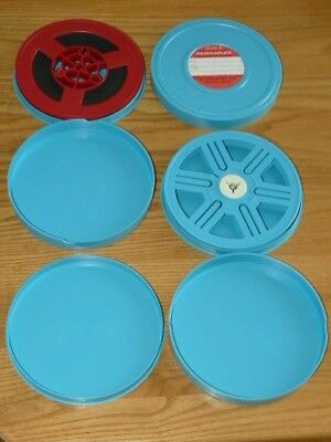 3 Carsen Permaflex 5 Inch Cans & 2 Reels for 8 and Super 8 Film
