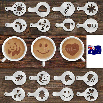 Set of 16 Cappuccino Coffee Decorating Stencil Shapes Mold Latte Art Barista