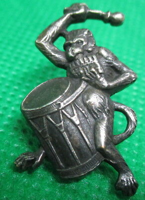 "1940s Vintage Antique French White Metal Button ""REALISTIC MONKEY PLAYS DRUM"""