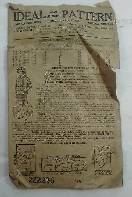 1920's Ideal Pattern 2Z2236 Girl's Dress Sewing Fashion Costume