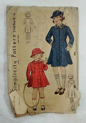 1940's Simplicity Pattern 2148 Child's Coat, Fashion Sewing Costume