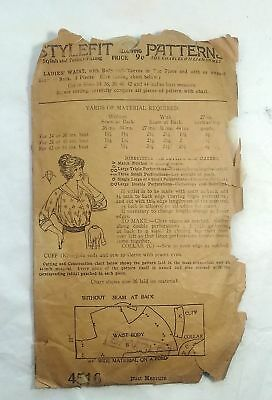 c1920's Pattern Ladies Waist w/ Body and Sleeves in One Piece. Blouse Sewing