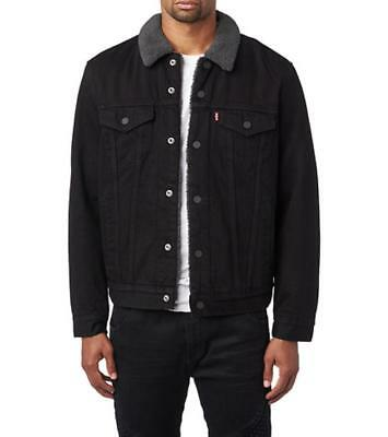 New Mens Levis Sherpa Trucker Jacket Snap Buttons Black 163650054 All Sizes