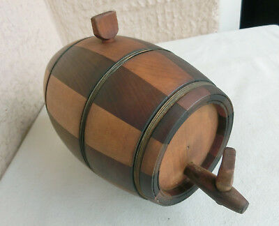 ۞ VTG ANTIQUE WOODEN BARREL CASK KEG FLASK CANTEEN made of 2 different wood tree