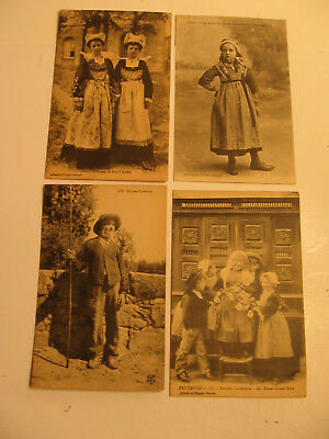 Seven French Postcards of Actresses, Individuals and Grandmother, etc.