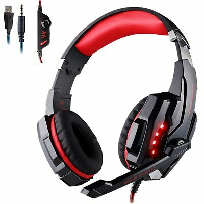 3.5mm Gaming Headset MIC LED Headphones Surround for Mac Laptop PS4 Xbox One RED