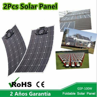 2PCS 100W Placa Panel Solar Carga Monocristalino Flexible Para Off Grid RV Boat