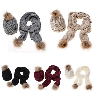 2Pcs Women Scarf and Hat Set Winter Warm Knitted Pompom Scarves Ladies Skull  Cap 34927c244f9